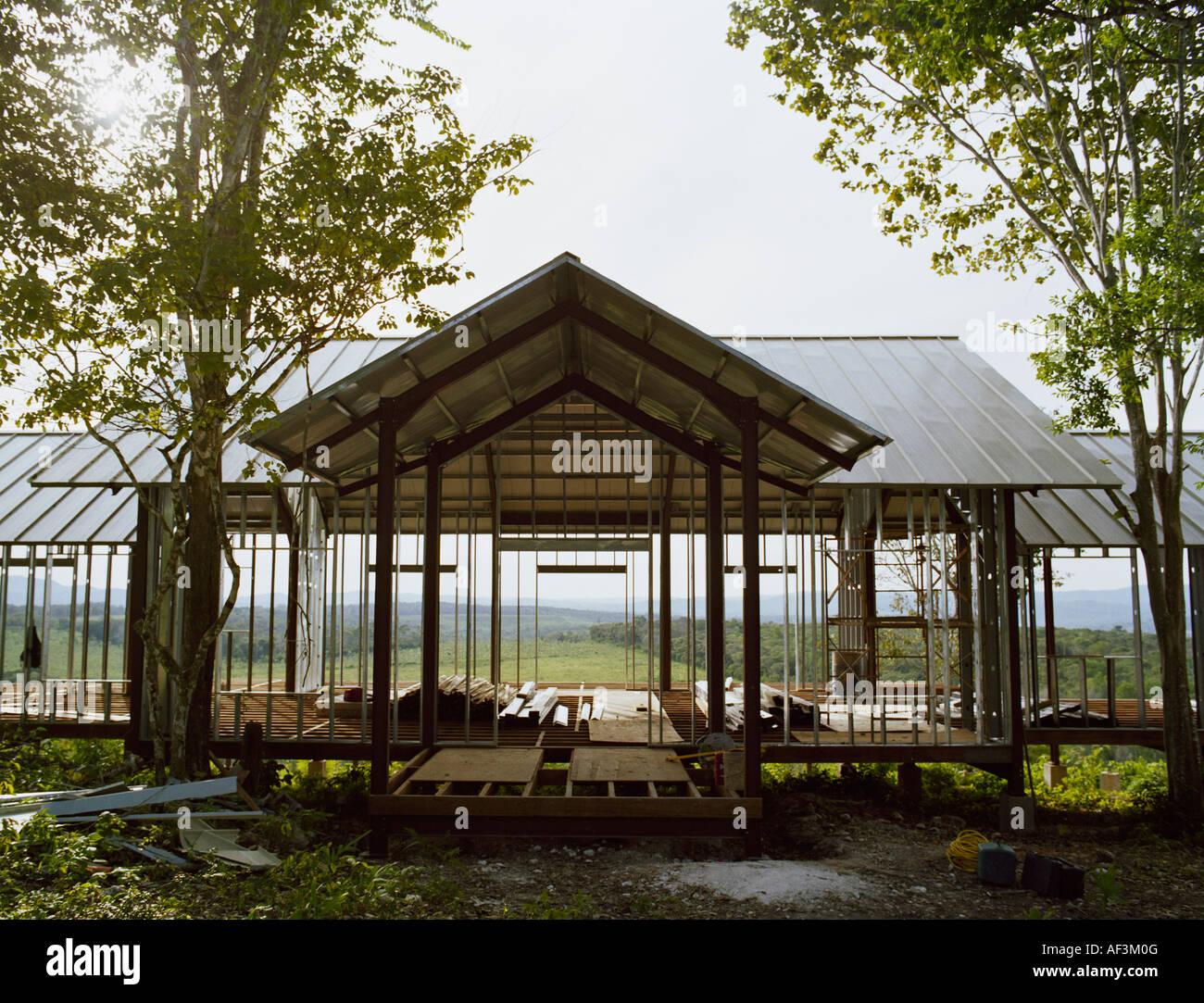 Hausbau über schöne Aussicht Stockbild