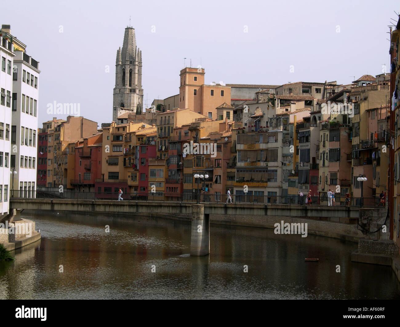 Girona Girona Katalonien Spanien Stadtansicht Stockbild