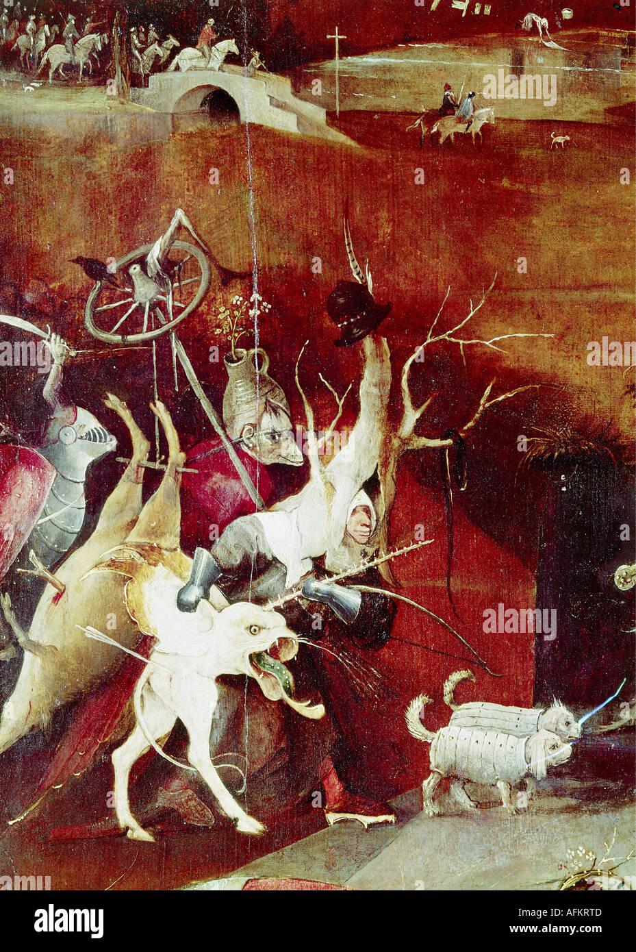 """""""Bildende Kunst, Bosch, Hieronymus (ca. 1450-1516), Malerei,""""die Versuchung des Heiligen Antonius"""", Stockbild"""
