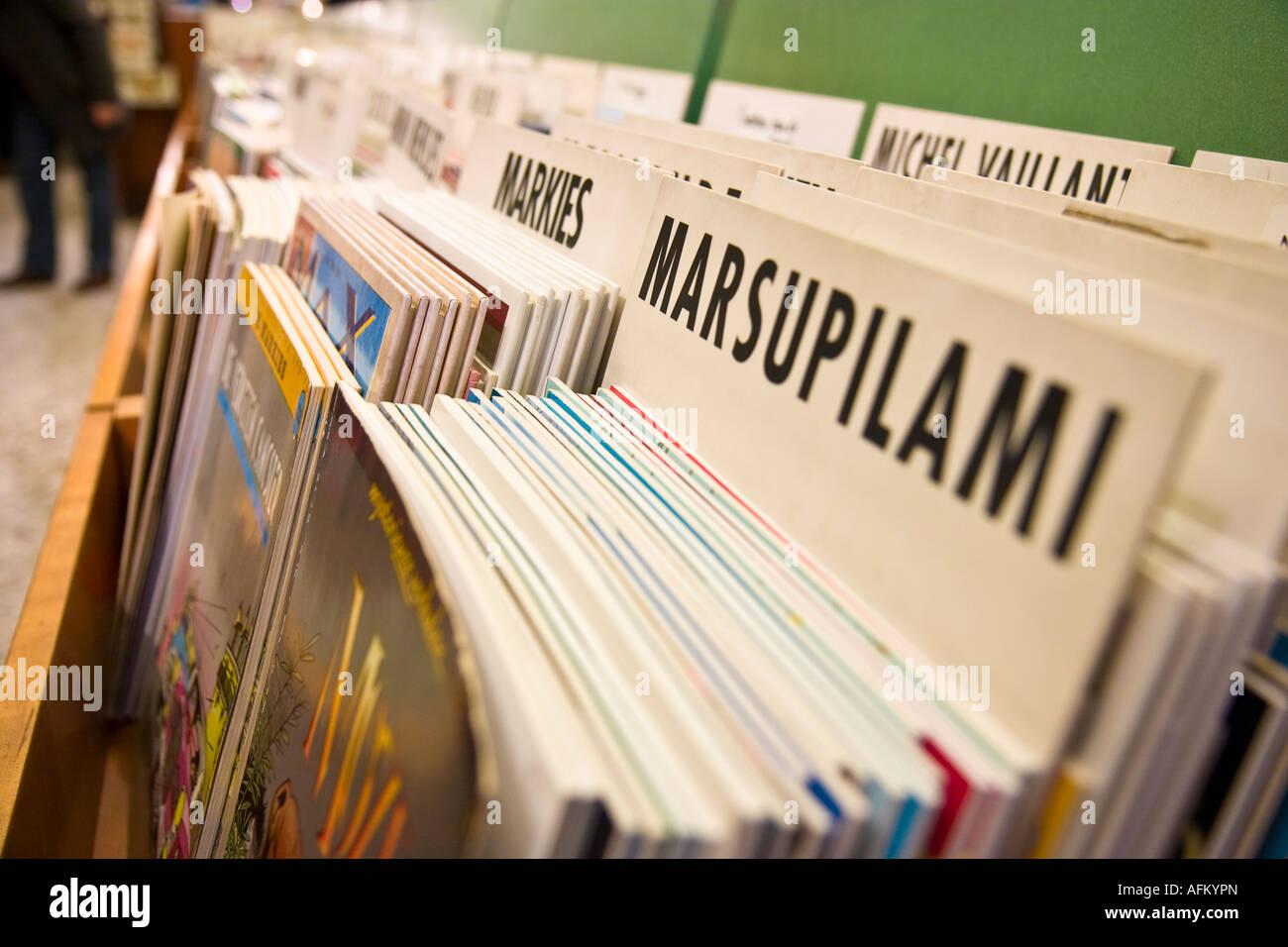 Comic-Buchhandlung an der belgischen Comic-Strip Centre Art Brussels Belgien Stockbild