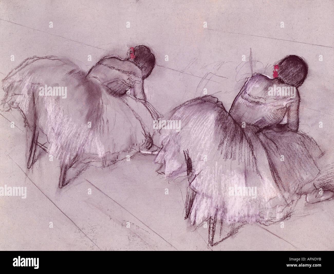"""""""Bildende Kunst, Degas, Edgar, (1834-1917), Malerei,""""Zwei ruhenden Tänzer"""", Pastell auf Papier, Art House, Zürich, historisch, Histor Stockfoto"""