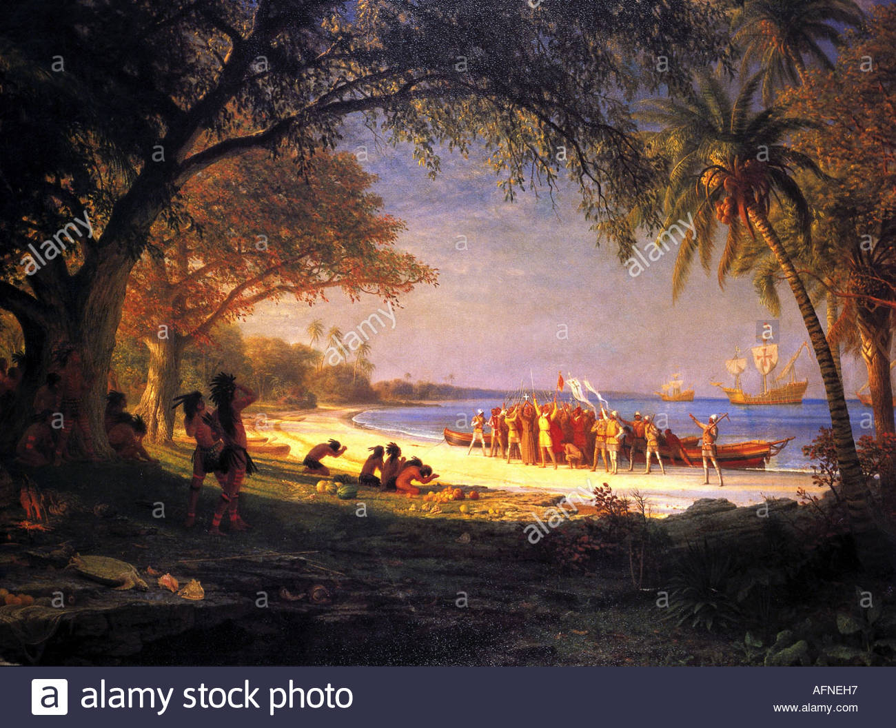Columbus, Christopher, 1451 - 20.5.1506, italienische Entdecker, Szene, Ankunft am Guanahani, 12.10.1492, Historienmalerei, Stockbild