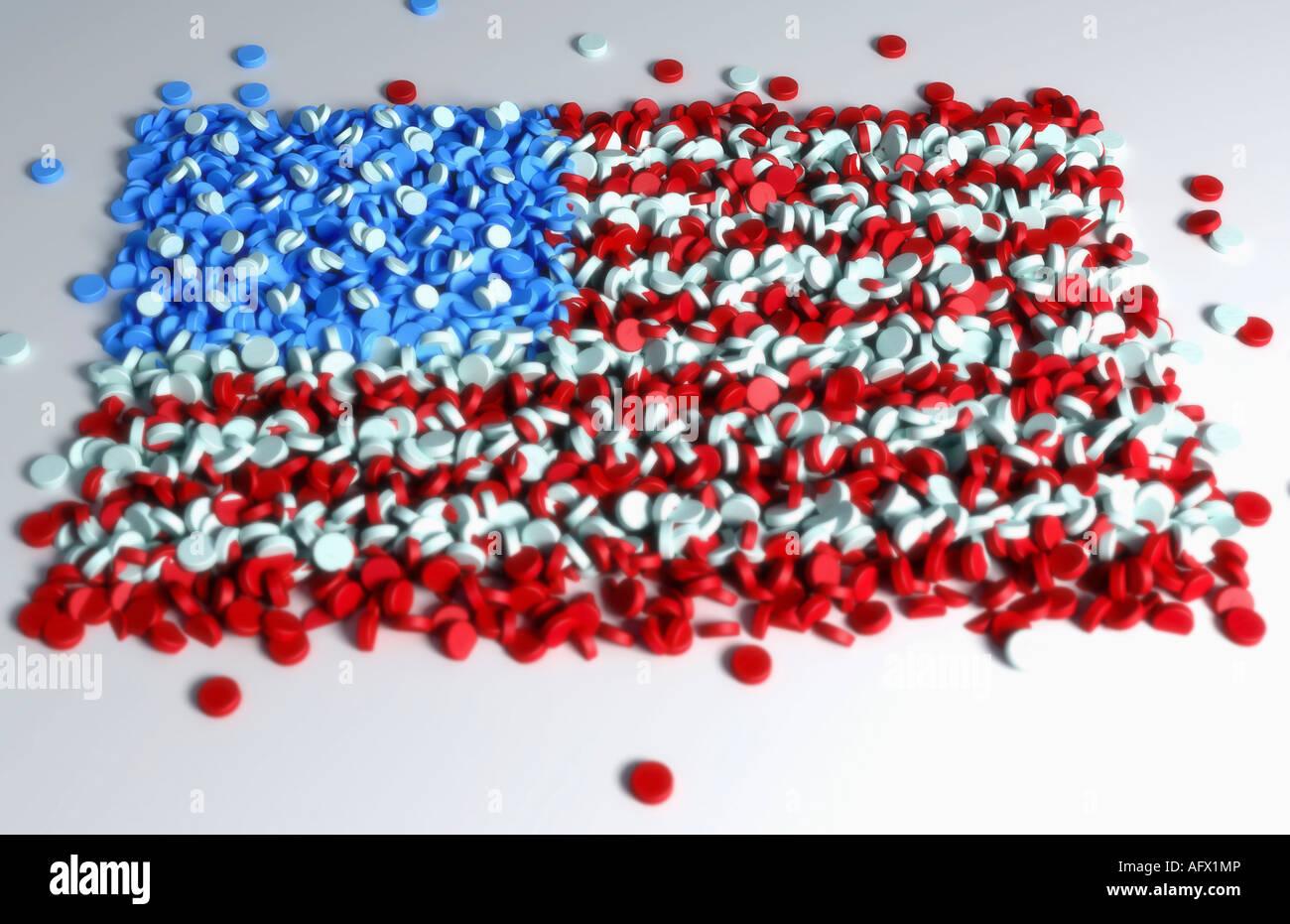 Mehrere Pillen bilden die Flagge der USA Stockbild