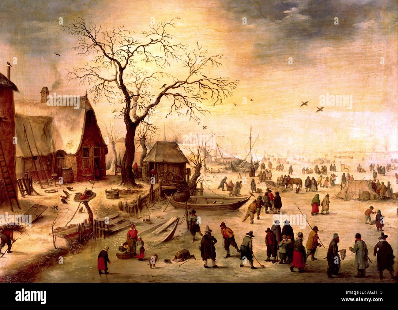 """Bildende Kunst, Pieter Snayers (ca. 1592 - ca. 1666), Malerei, 'Winter', 17. Jahrhundert, 61 cm x 85,5 cm, Hessisches Landesmuseum, Kassel, Gemäldegalerie """"Alte Meister"""", """"Artist Copyright wurde nicht gelöscht Stockbild"""