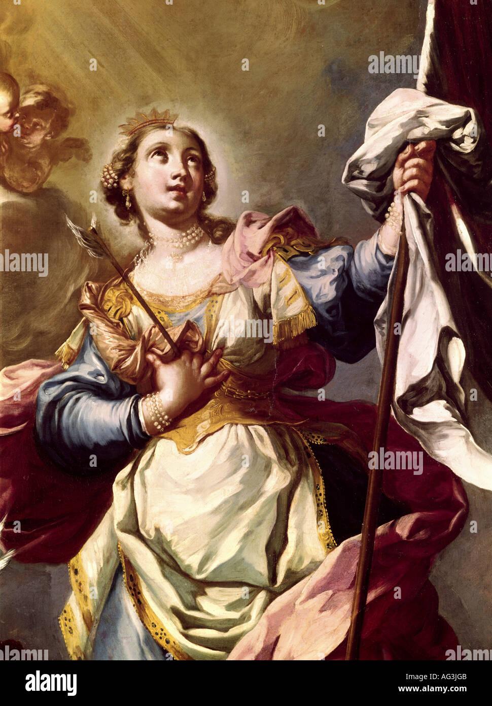 Bildende Kunst, Grasmayr, Johann Georg (1691 - 1751), Malerei, 'Saint Ursula', Detail, Diözesanmuseum, Brixen, Italien, Artist's Urheberrecht nicht gelöscht werden Stockbild
