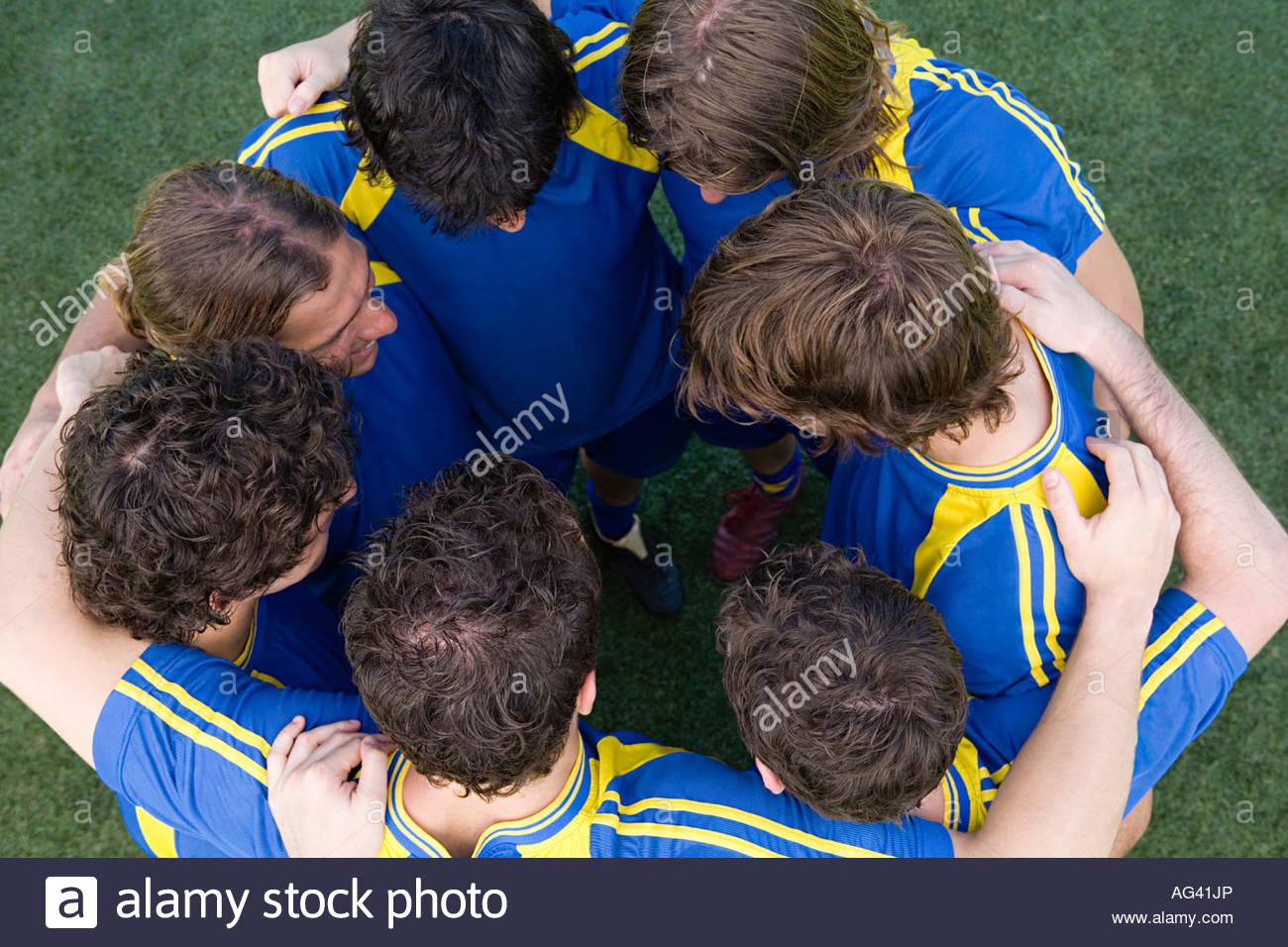 Fußballer, die Verklebung Stockbild