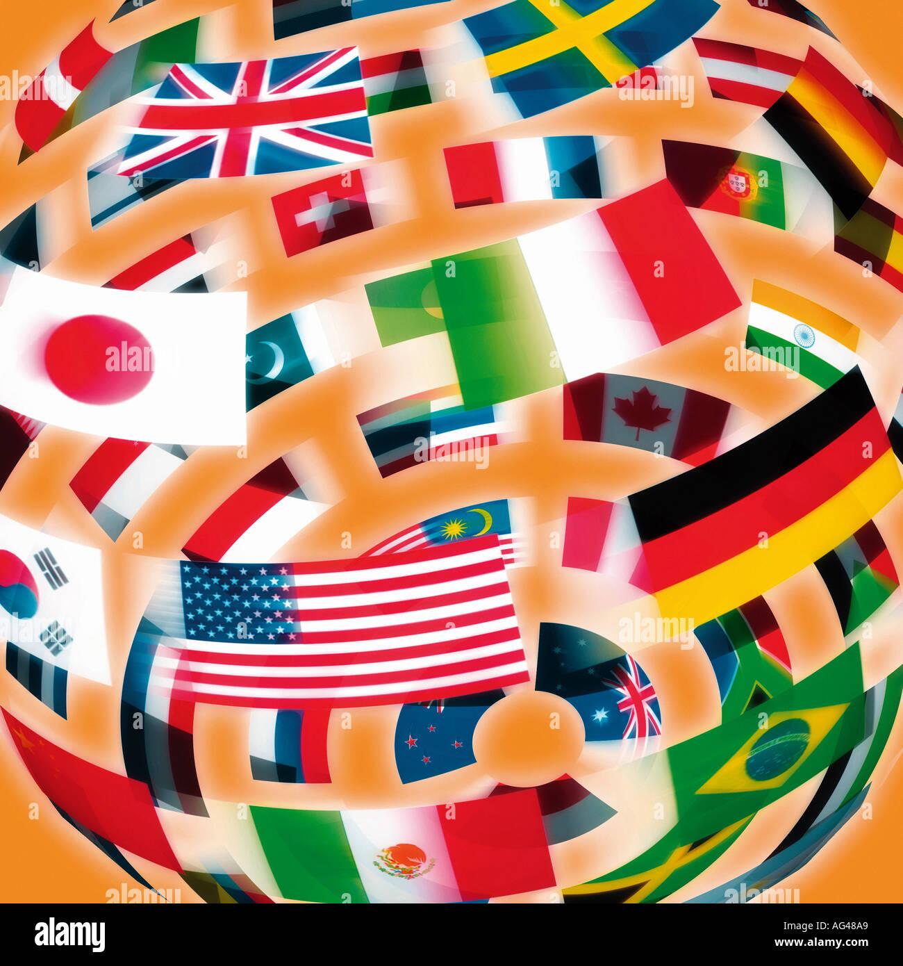 Internationale Flaggen in der Form einer Kugel gegen einen orangen Hintergrund. Flagge Welt. Stockbild