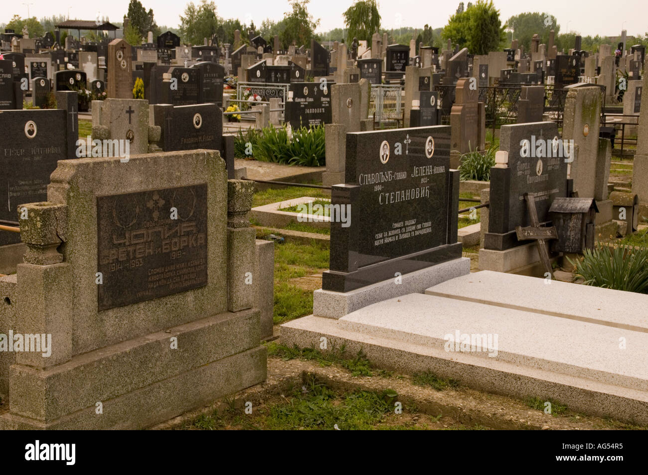 Friedhof in Sabac, Serbien Stockfoto