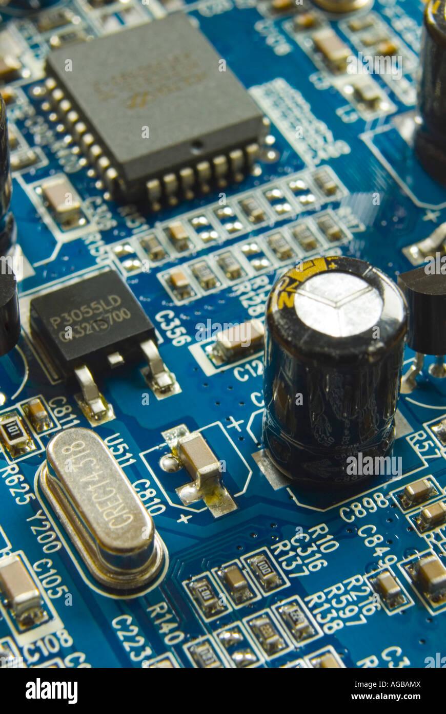 Platine Detail vom Computer Grafikkarte Stockbild