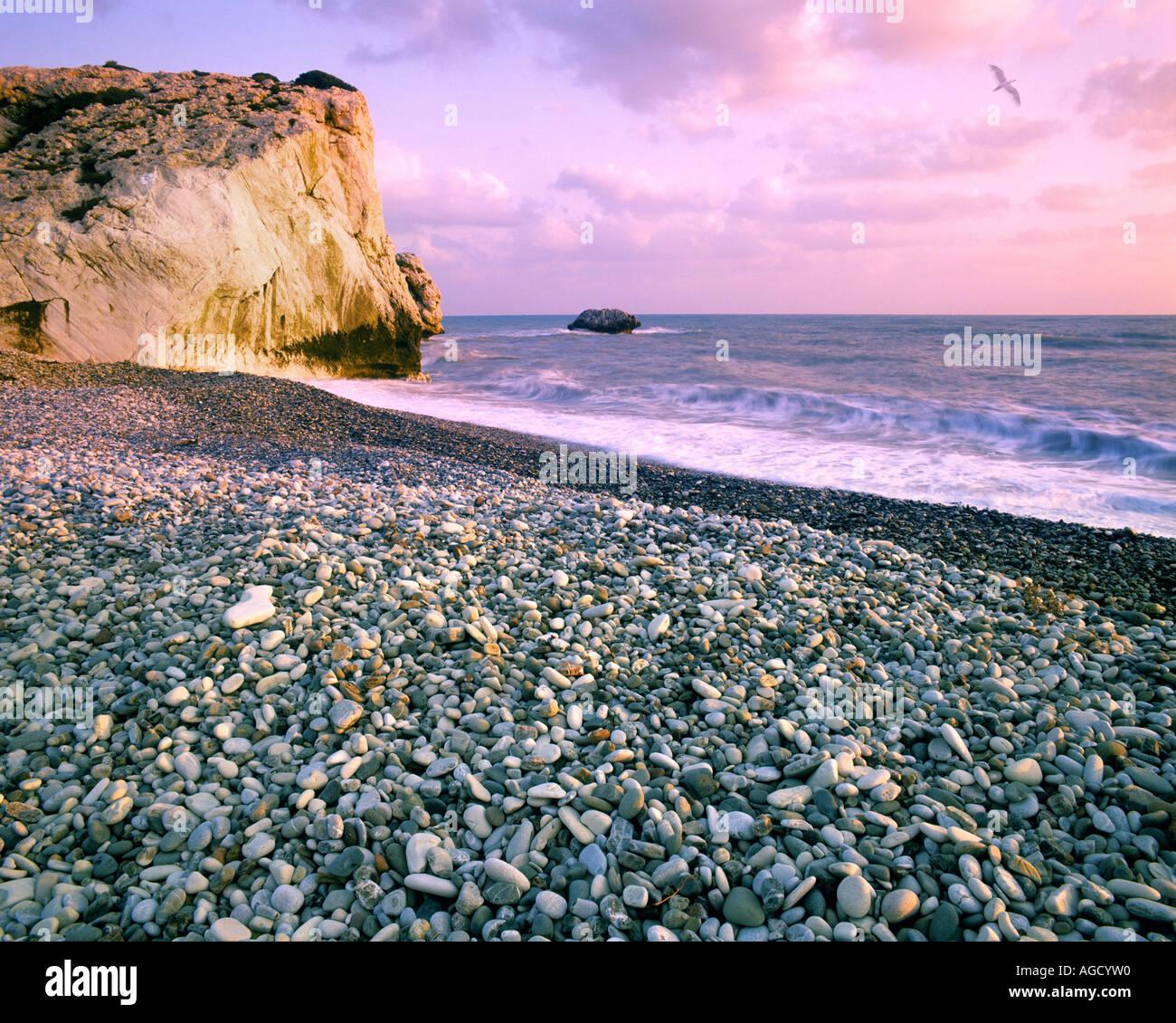 CY - PAPHOS: Rock von Romiou, dem Geburtsort der Aphrodite (Petra Tou Romiou) Stockbild