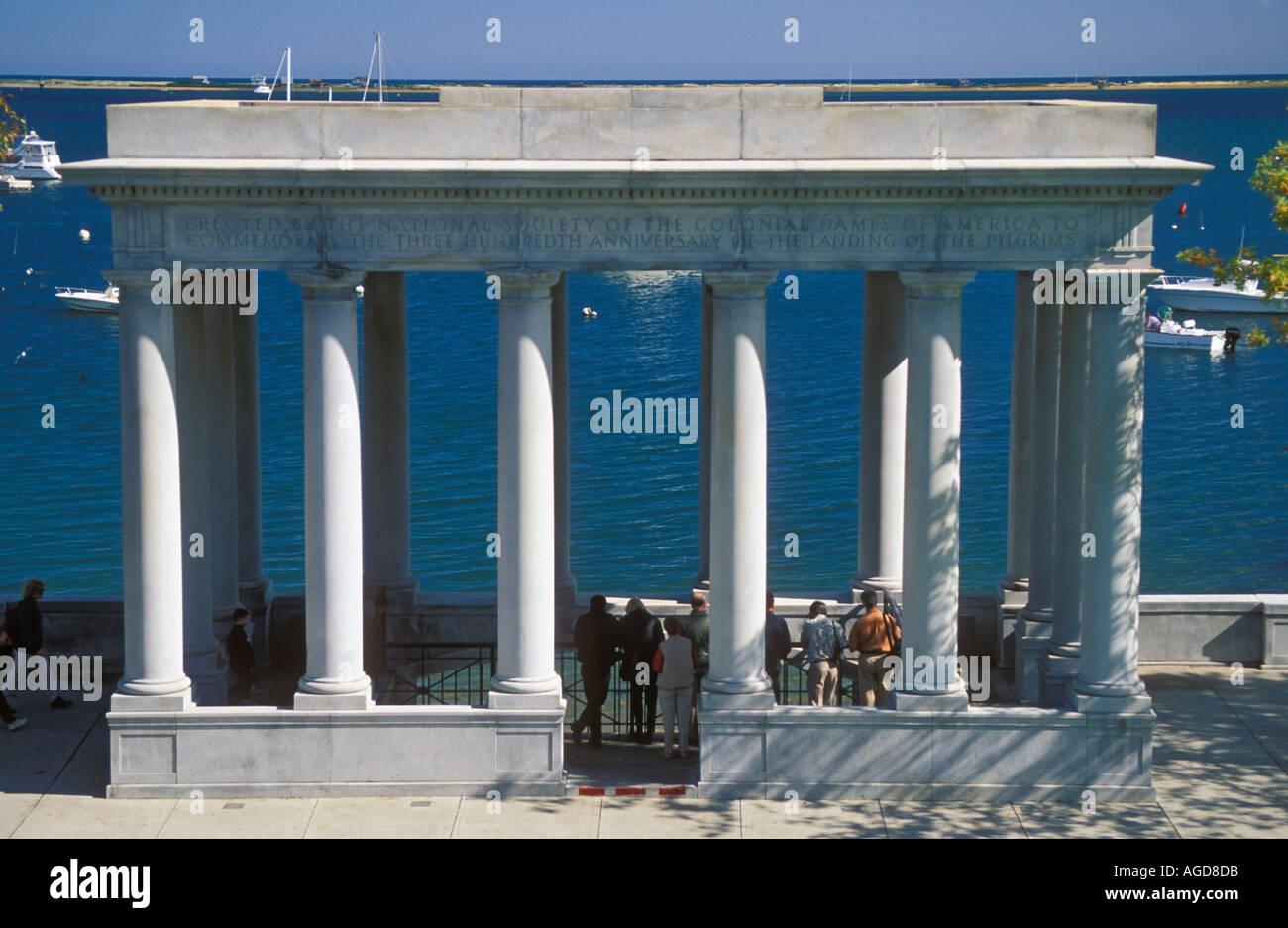 Massachusetts Plymouth Memorial rund um Plymouth Rock Stockfoto