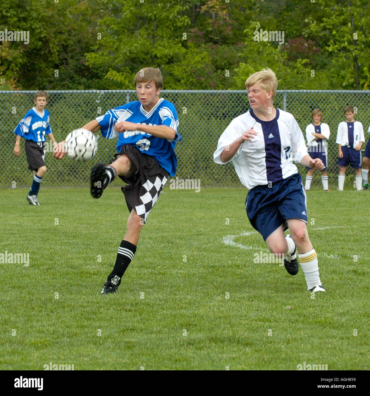 High School Soccer Futbol Fußball-Action Port Huron, Michigan Stockbild