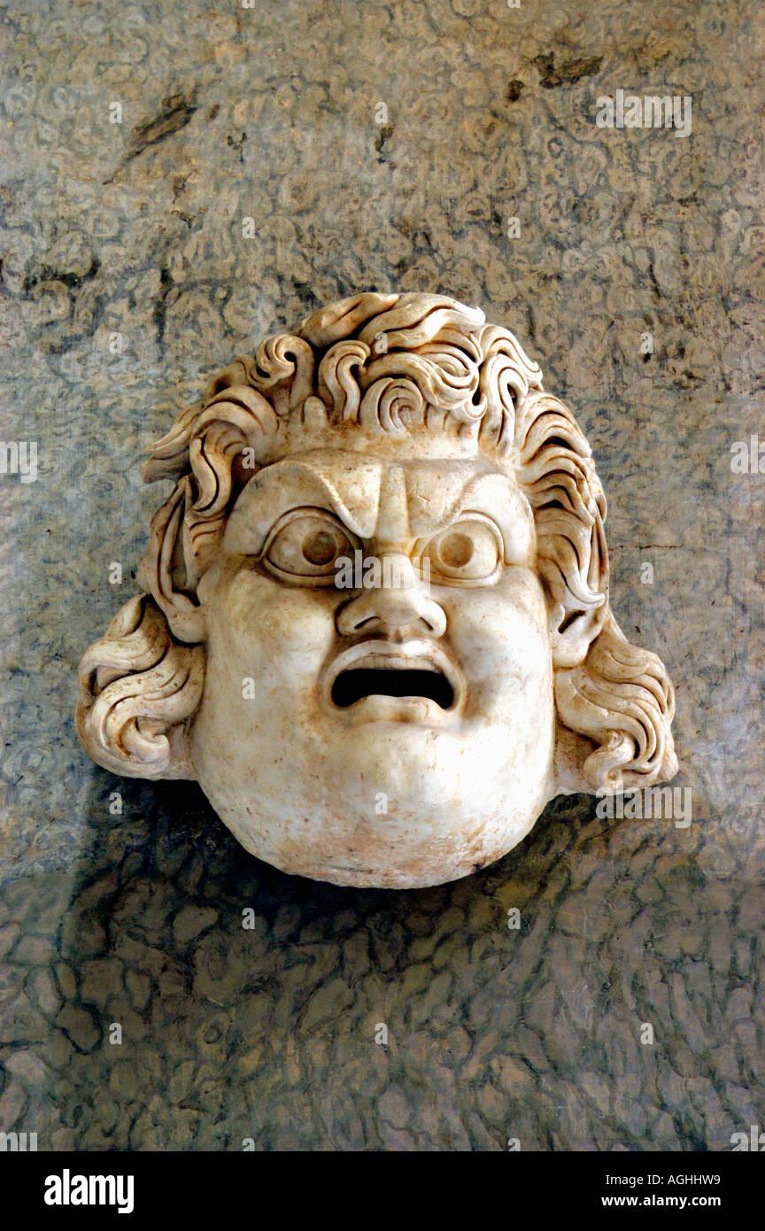 Skulptur mit Gesicht, Vatikanischen Museen, Vatikan, Rom, Italien Stockbild