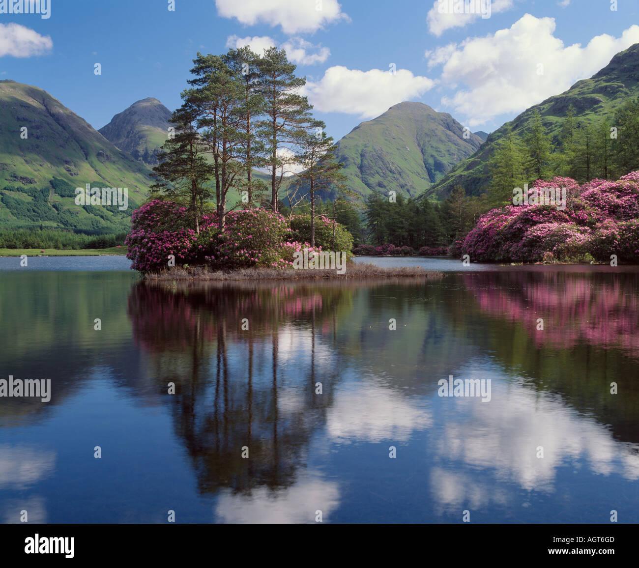 Man Urr, Glen Etive, Highland, Schottland, UK.  Blick auf Buachaille Etive Beag und Buachaille Etive Mor Stockbild