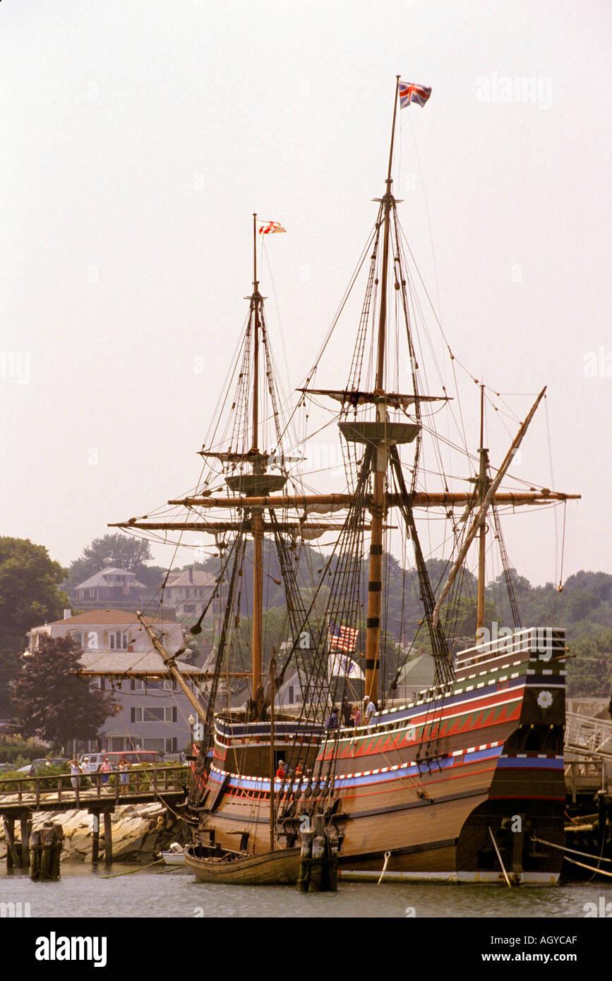 Holz Schiff Mayflower II Plymouth Massachusetts Stockbild