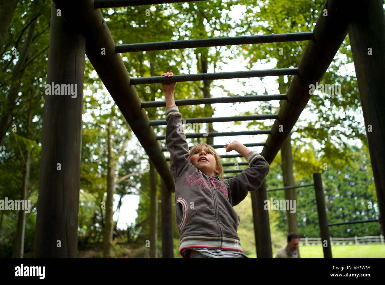 Little Monkey Klettergerüst : Junges mädchen schwingen auf klettergerüst stockfoto bild