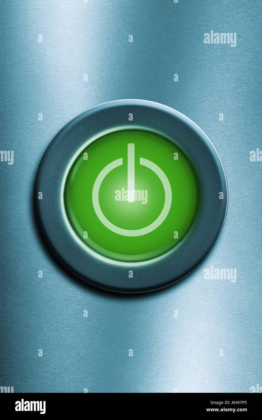 Power-Schalter Knopf Button macht Geschmack Stockbild