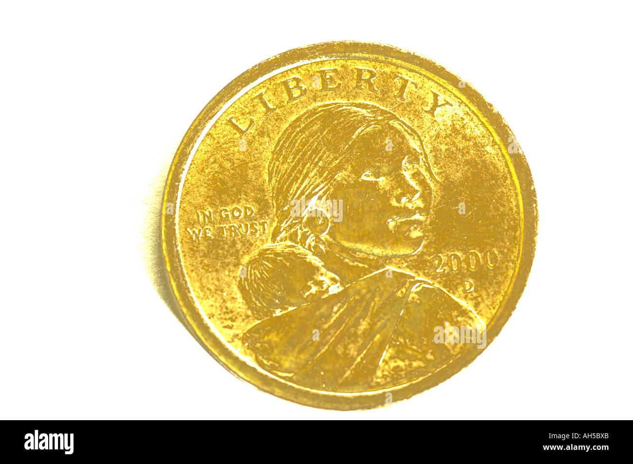 Sacajawea Gold 1 Dollar Münze Uns Stockfoto Bild 8207850 Alamy