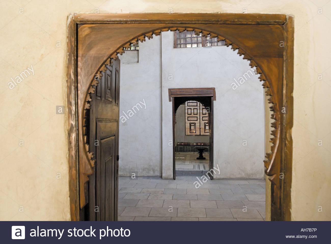 Viermonatiges, Le Vieux Caire, Palais Turc Al Darb El Asfar, intérieur Stockbild