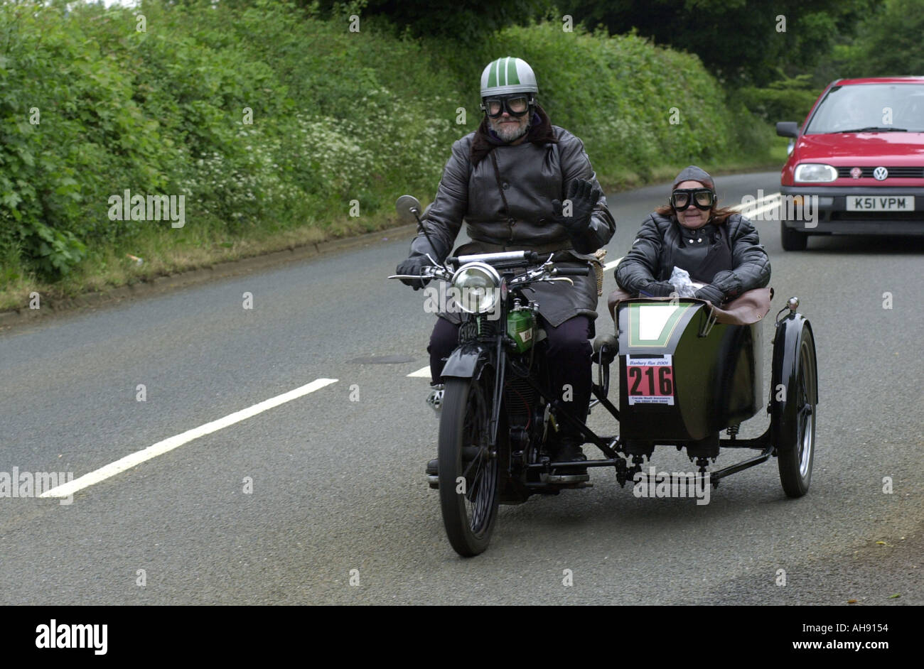 Banbury Oldtimer Motorrad laufen UK Stockbild