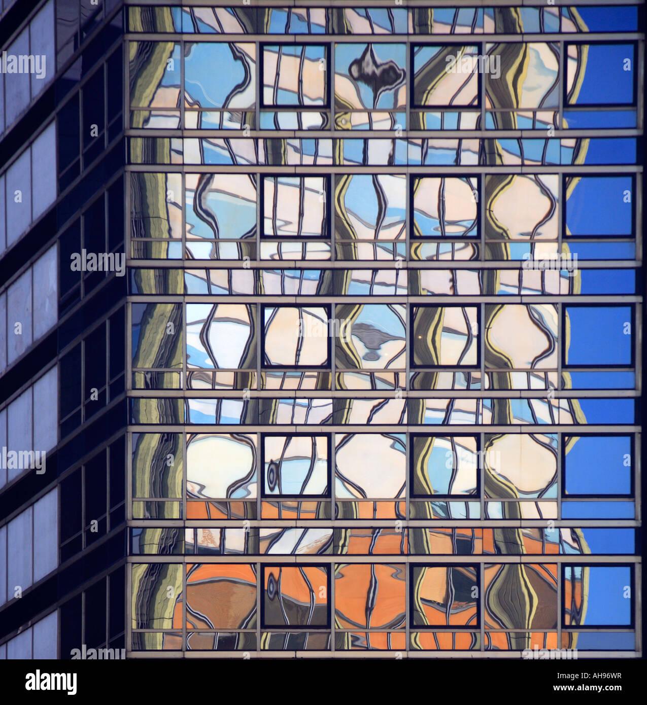 Bürogebäude Glas Reflexionen, Downtown, Buenos Aires, Argentinien Stockfoto
