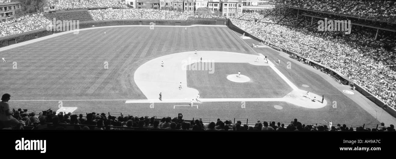 Wrigley Field Chicago IL Cubs V Rockies Graustufen Stockbild