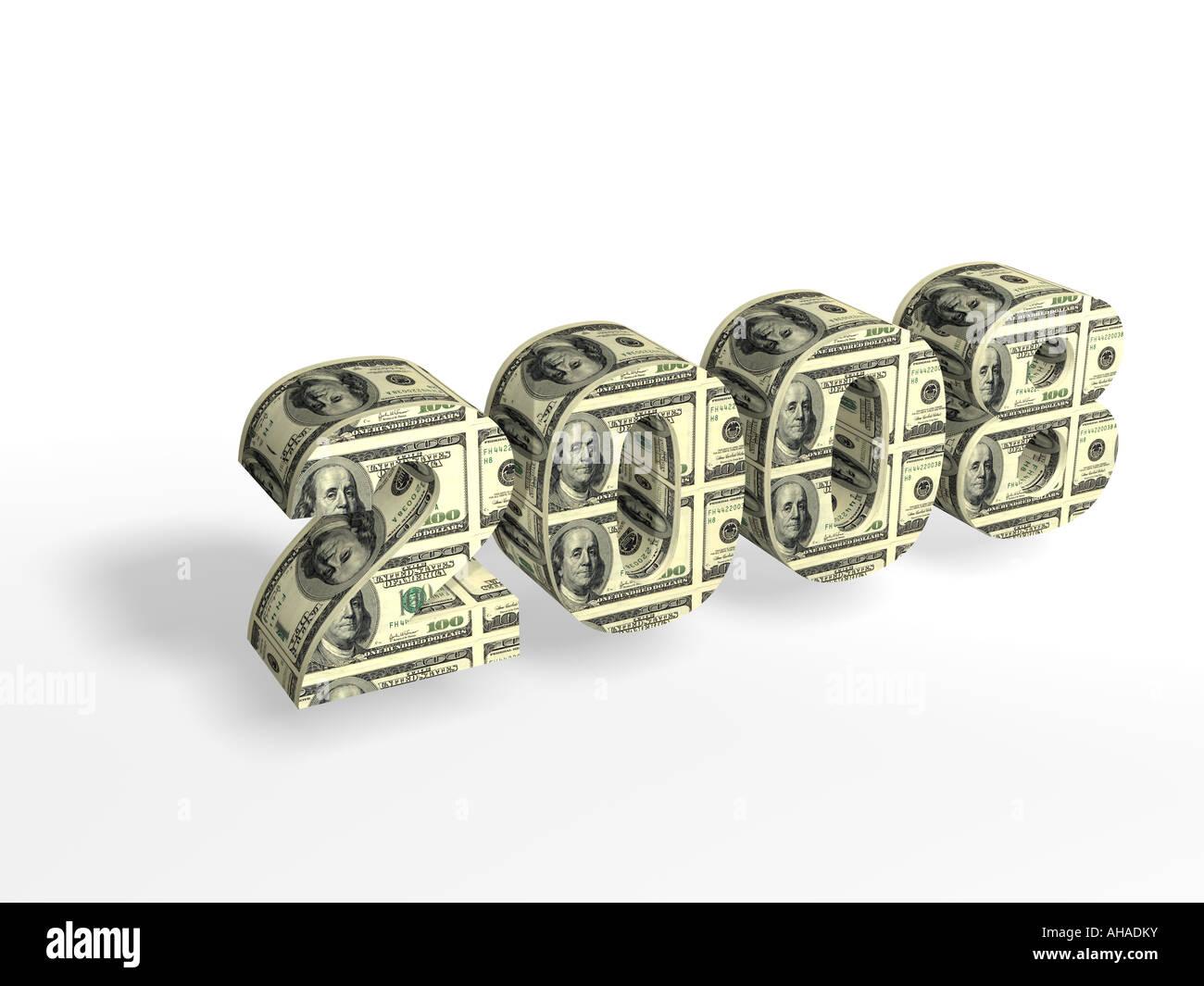 Zeichenfolge 2008 US-Dollar auf weißem Hintergrund gemalt Stockbild