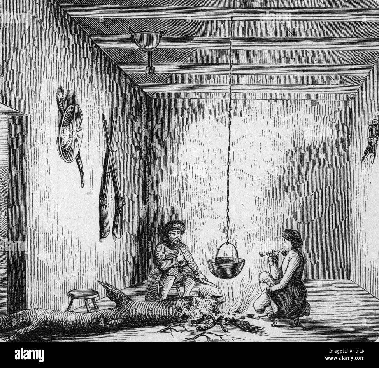 Geografie/Reisen, Russland, Menschen, Adyge in Ihrem Haus, Gravieren, 19. Jahrhundert, Cherkes, Kochen, Feuer, Topf, Stockbild