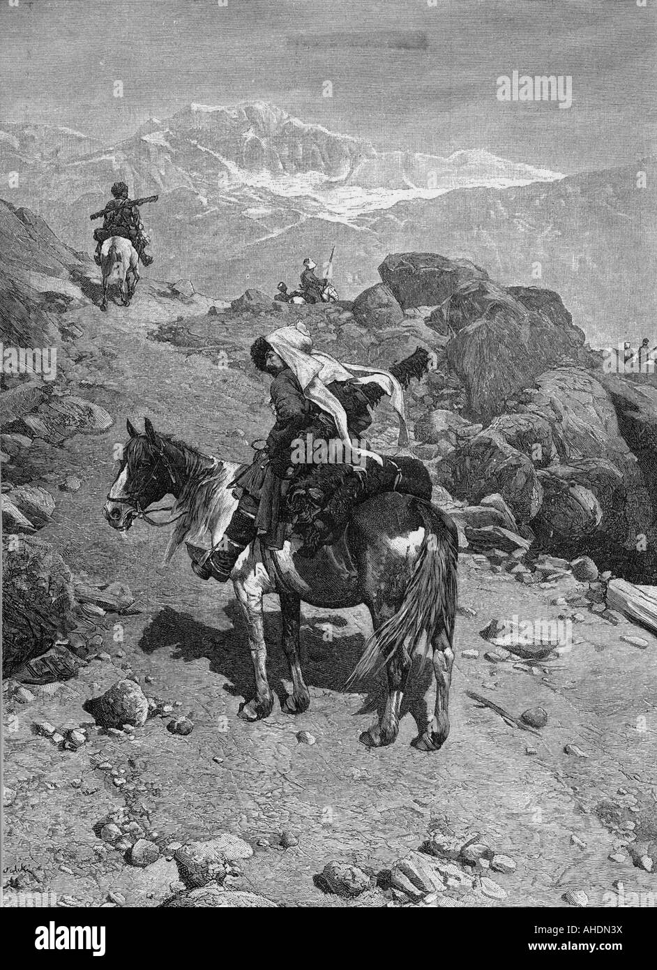 Geografie/Reisen, Russland, Menschen, Adyge, Gravieren, 19. Jahrhundert, Reiter, Berge, Kaukasus, Kaukasier, historischen, Stockbild