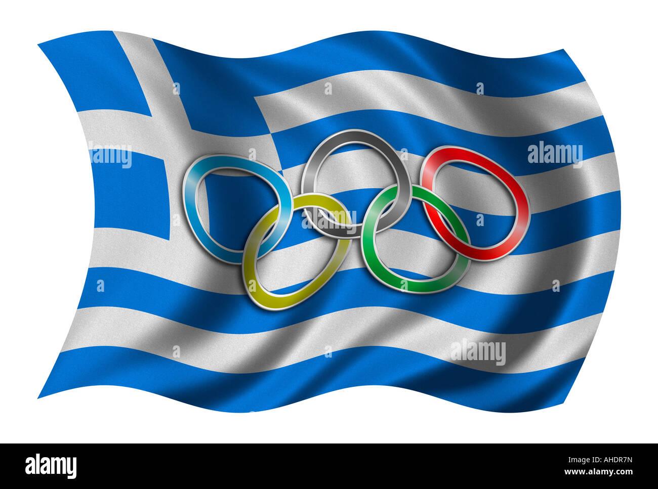 Flagge von Griechenland mit Olympiasymbol Stockfoto Bild