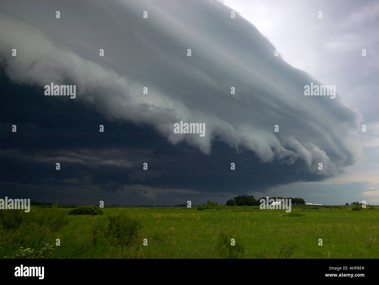 Regal-Wolke über die Prärie und Bauernhof, Minnesota USA Stockbild