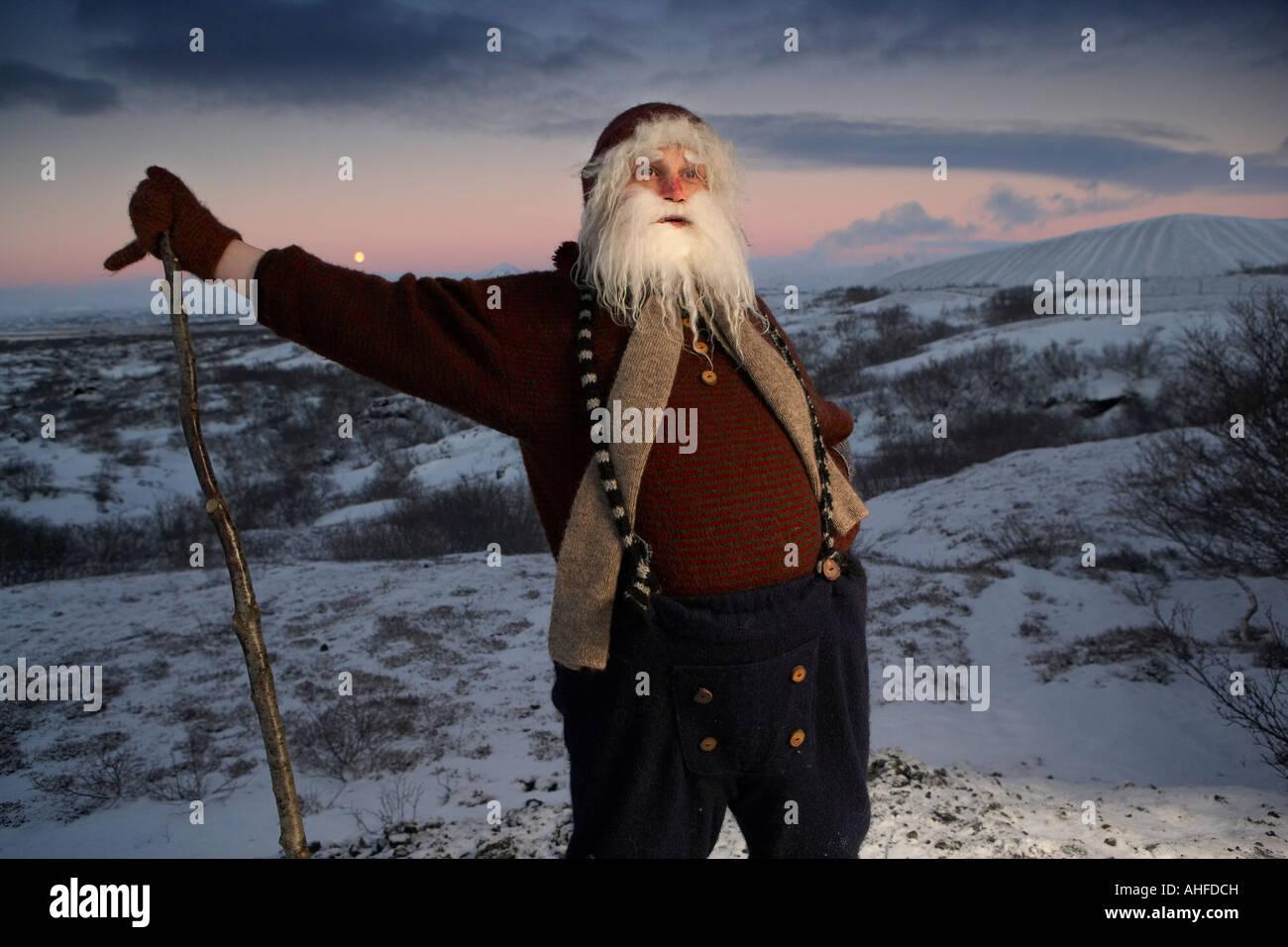 Yule Burschen Santa Claus, Island Stockbild