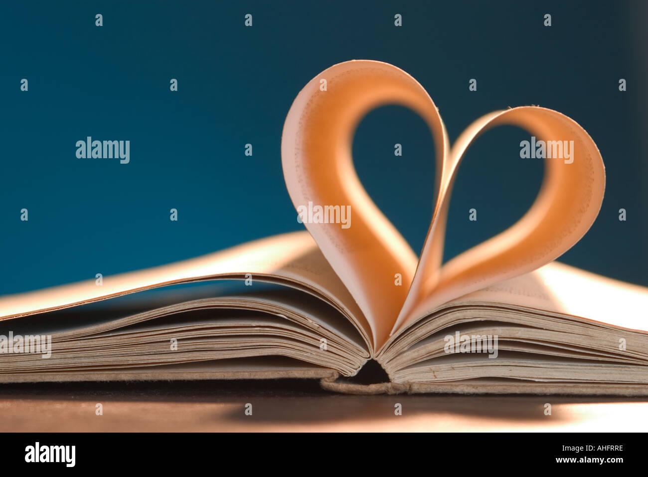 Liebe Roman - Buch mit Herz Stockbild