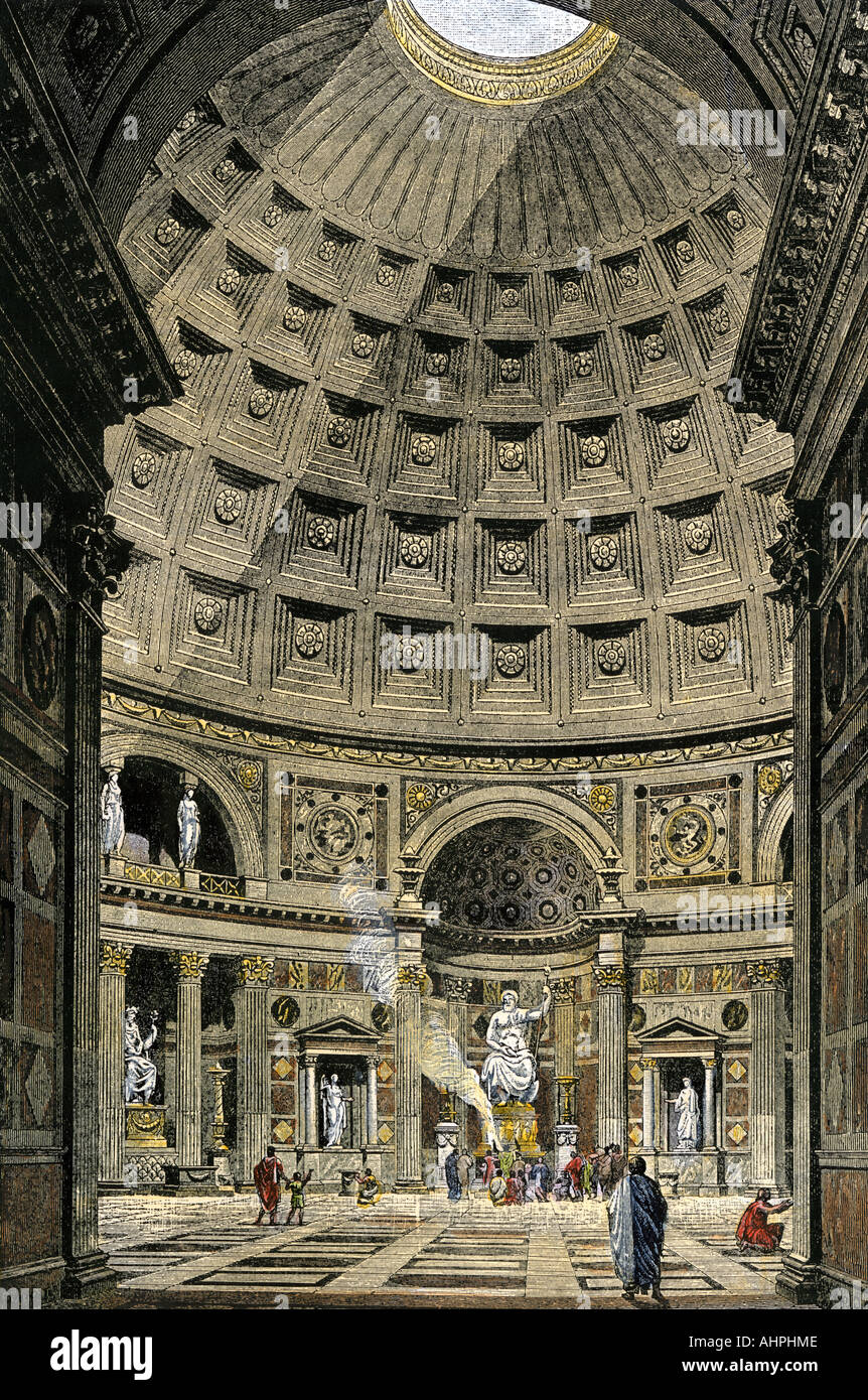 Innenraum des Pantheon im antiken Rom. Hand - farbige Holzschnitt Stockbild