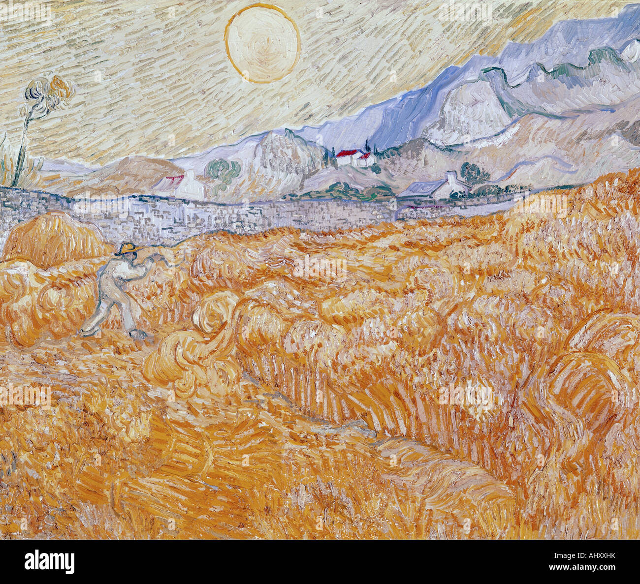 """""""Fine Arts, Gogh, Vincent van, (1853-1890), Malerei,""""die Ernte"""", 1889, Folkwang Museum Essen, historisch, historische, Stockfoto"""