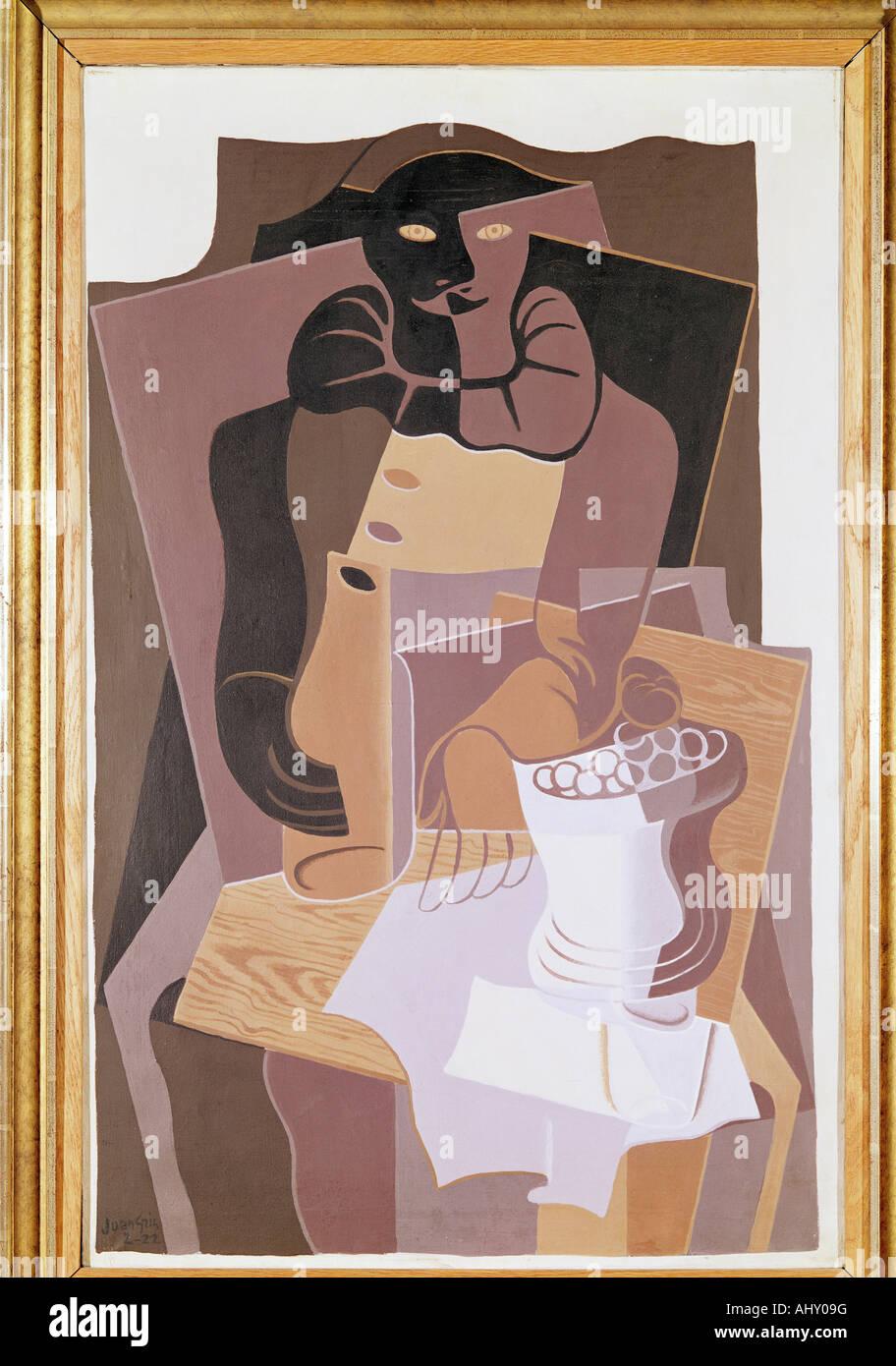 """""""Fine Arts, Gris, Juan (1887-1927), Malerei,""""Pierrot"""", 1922, Öl auf Leinwand, 100 x 64 cm, von der Heydt-Museum, Stockfoto"""
