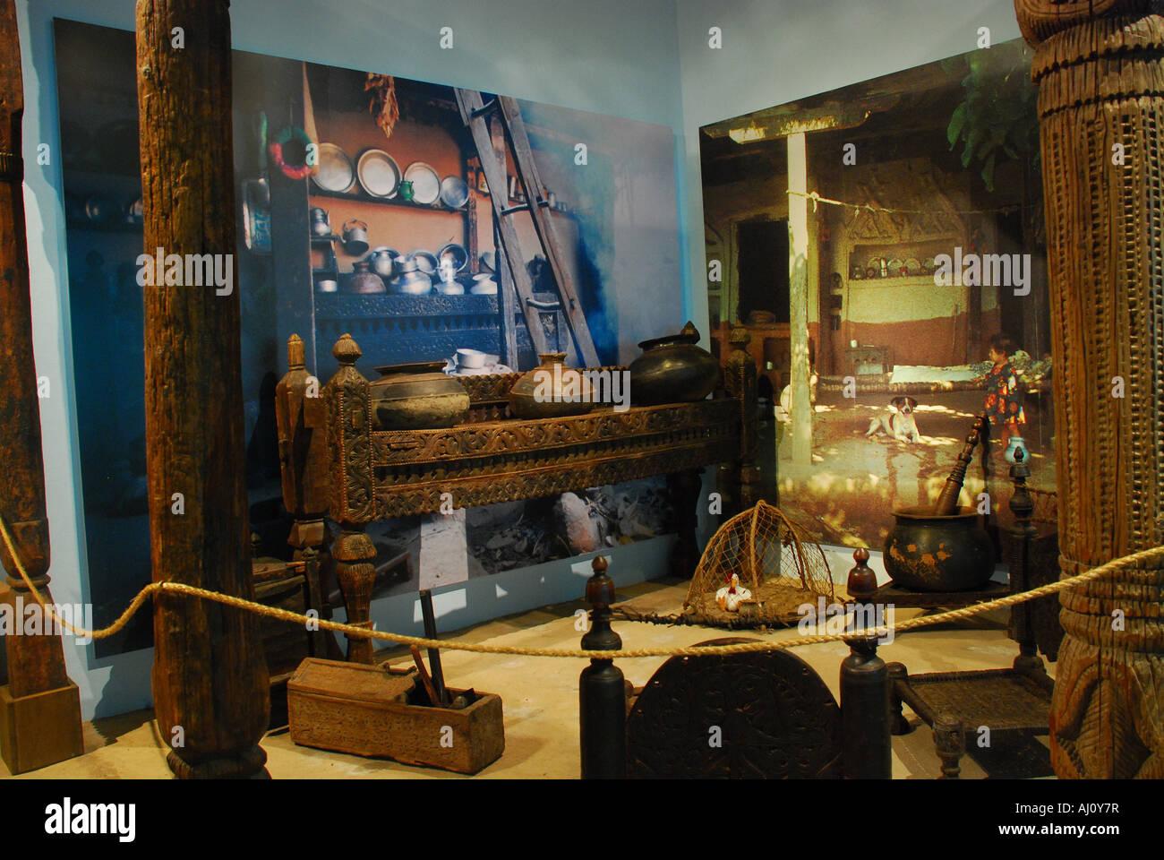 Gehöft im Swat-Tal, äthnographische Museum Lindenmuseum Stuttgart Baden-Württemberg Deutschland Stockbild