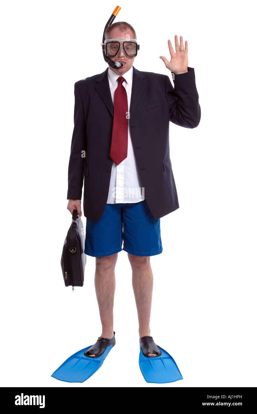 Business Travel-Konzept Bild einen Geschäftsmann im Anzug und Scuba gear Stockbild