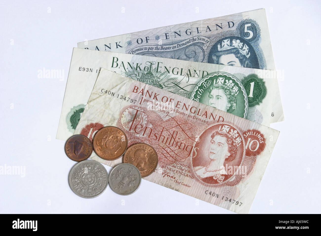 Alte Englische Banknoten Und Münzen Aus Den Sechzigern Und