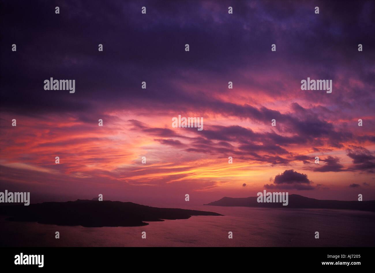 Santorin Sonnenuntergang Kykladen Griechenland Stockbild