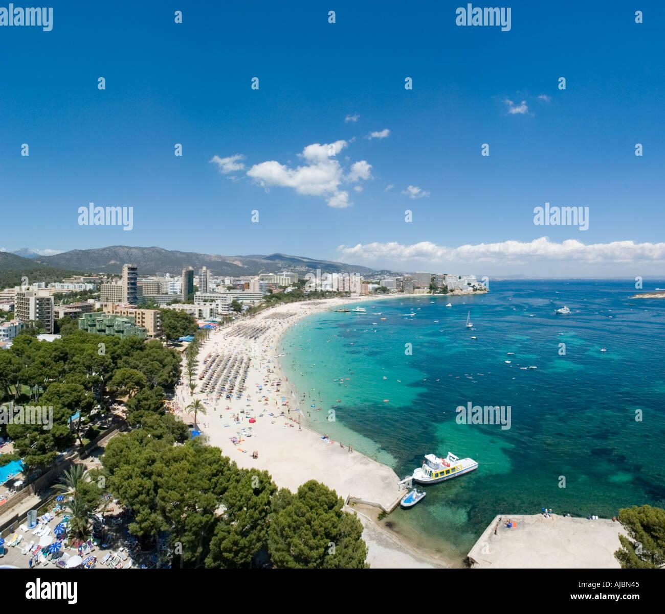 Strand vom Hotel Sol Antillen, Magaluf, Bucht von Palma, Mallorca, Balearen, Spanien Stockbild