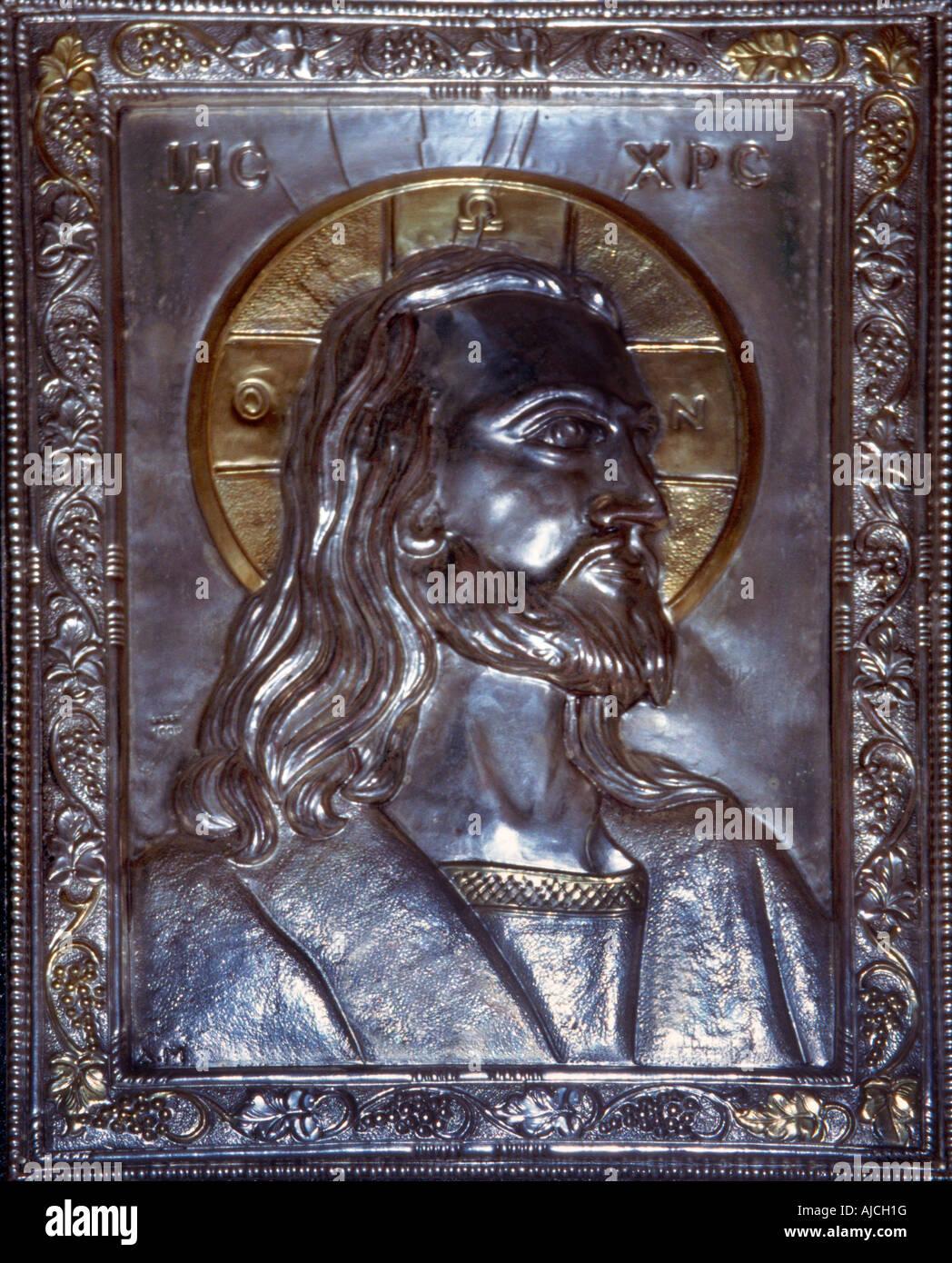 Athen Griechenland Agios Georgios Lykavittos Hill Silver Ikone Christi Stockbild
