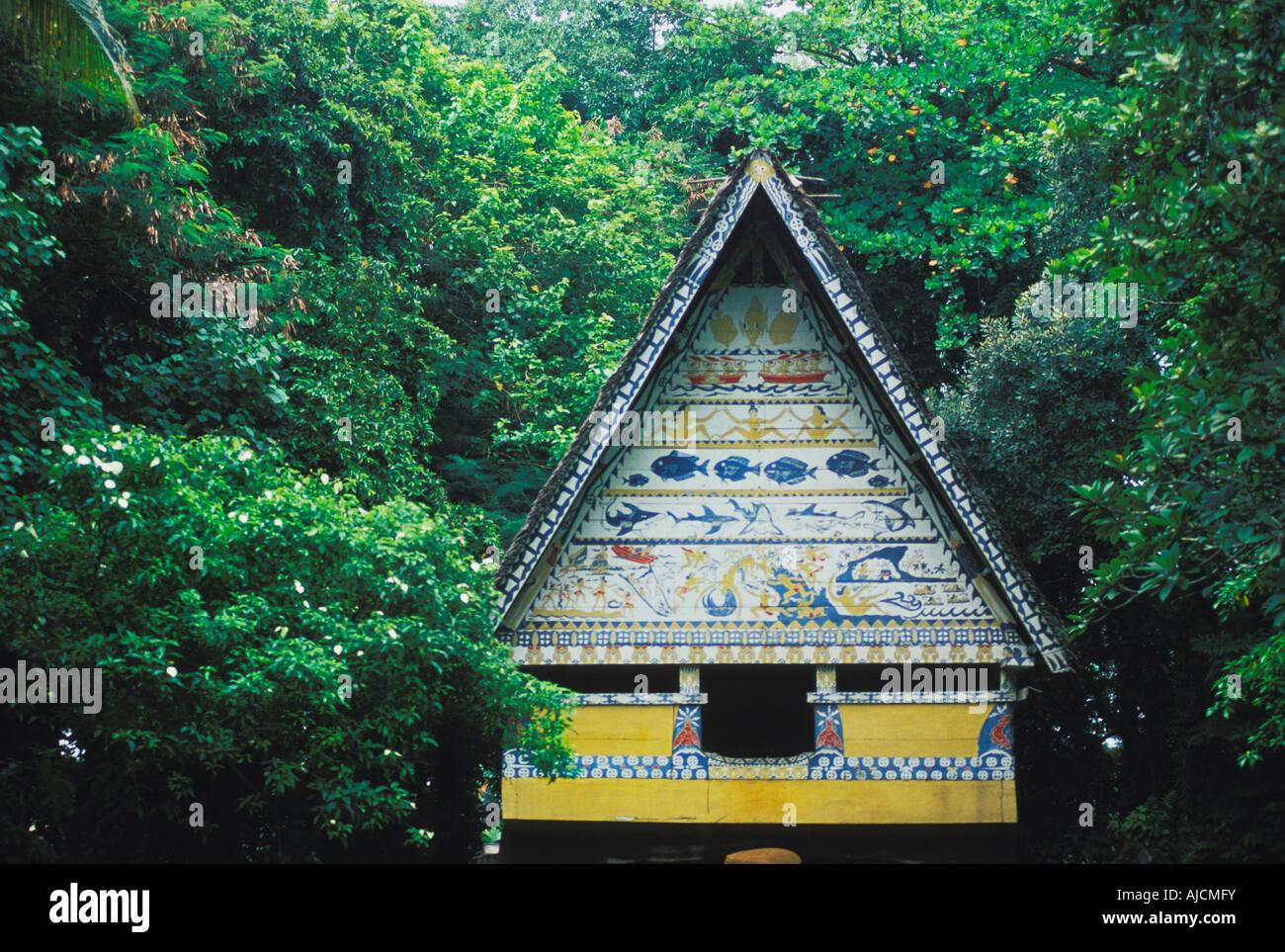 Holz Und Stroh Bai (ein Männer S Haus) Im Belau National Museum In Palau