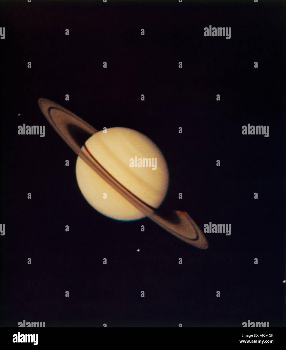 Saturn & seine Monde Stockbild