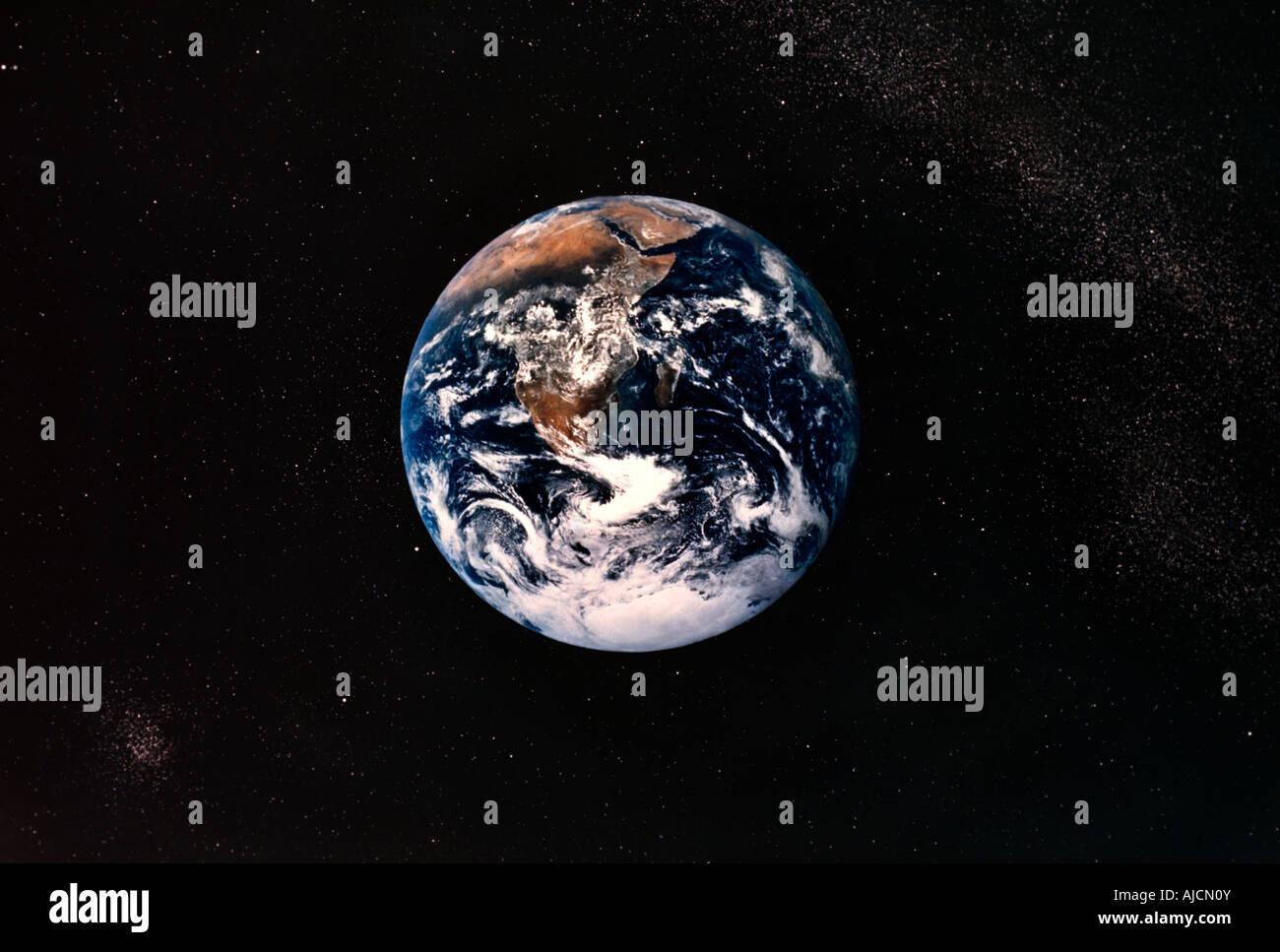 Erde aus dem Weltraum Afrika Planeten kreisen um Rundschreiben Stockfoto