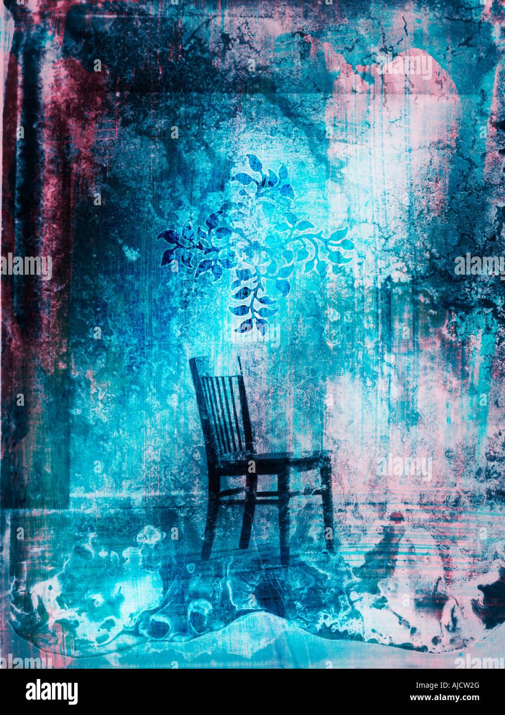 Foto-Illustration eines Stuhls allein in einem Raum Stockbild