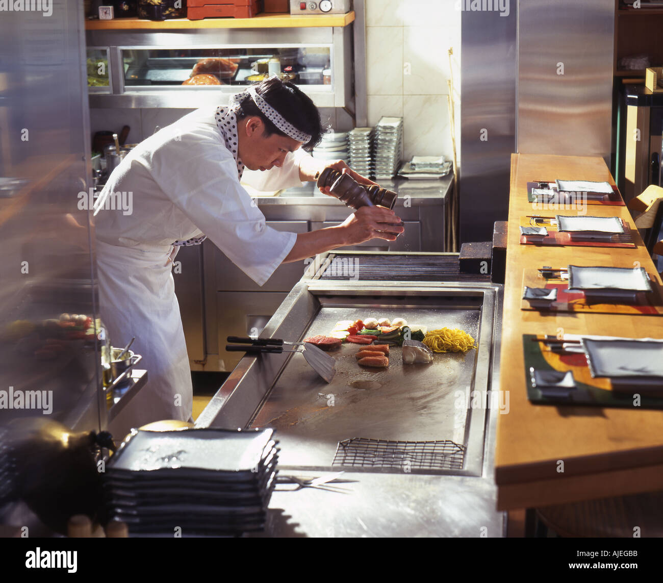 Japanische Koch Zubereitung Von Speisen Auf Heisser Platte