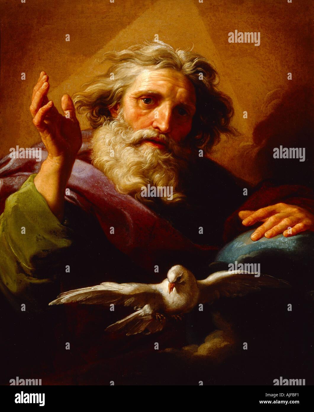 Gott der Vater von Pompeo Batoni 1779 in Octagon Salon in Basildon Park eine von einer Reihe von Gemälden der sieben Apostel Stockbild