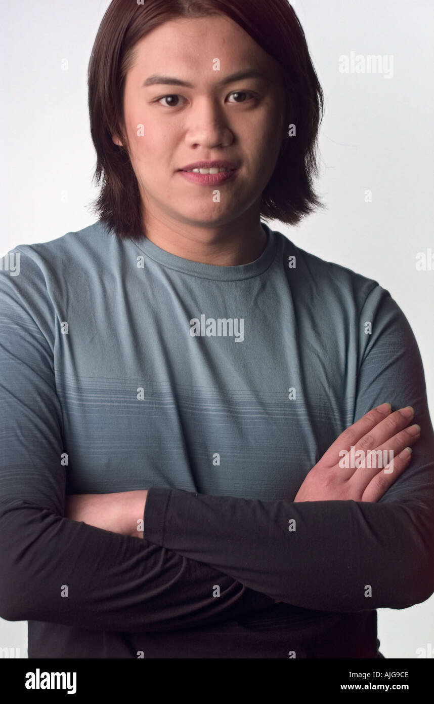 Porträt asiatischer Mann Gelenkarme Stockbild