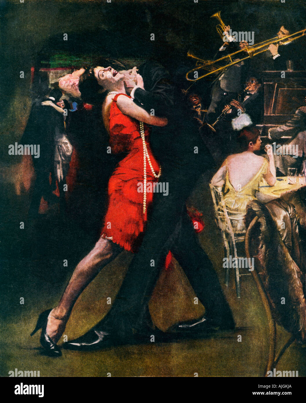 """Chicago Jazz, 1920er Jahre Illustration des Effekts """"unmoralisch"""" des Jazz in der Zeit der Prohibition Stockbild"""